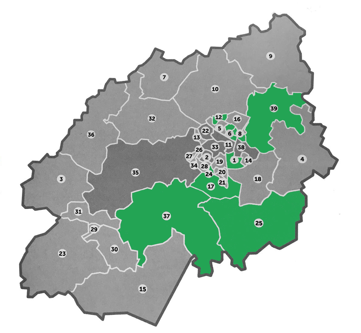 Map of Ashford Wards